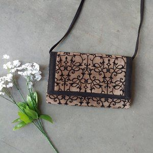 Frenchy of California Brown Black Velvet Purse